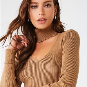 Forever 21 Ribbed Sweater Camel & Black.